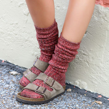 All I Ever Needed Multicolor Knee High Heather Knit Boot Socks