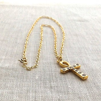 Gold Ankh Necklace, Egyptian Ankh Cross, Pendant Necklace, Ankh Jewelry, 624