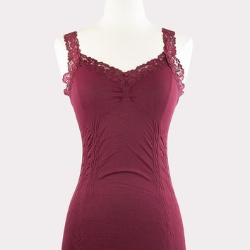 Corset Cami with Lace in Burgundy