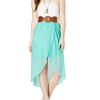 Belted Lace Bow Back Dress