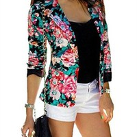 Womens Fashion Long Sleeve Flower Print Short Coats Blazer Suits