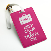 personalized custom name tag, keep calm and travel on, name tag, Luggage Tag, Bag Tag, Travel Tag, Suitcase Tag, Id tag (L72)