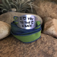 I love you to the moon and back inspirational jewelry, silk wrap bracelet, Christmas heart surprise gifts for your loved ones.