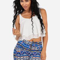 White Loose Fit Crop Top