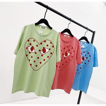 """Comme des Garcons PLAY"" Women Personality Love Heart Graffiti Print Short Sleeve T-shirt Top Tee"