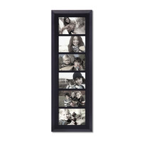 """6-Opening Decorative Black Wood Wall Hanging Divided Photo Frames 4 by 6"""""""