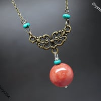Red Coral necklace, handmade gemstone necklace,