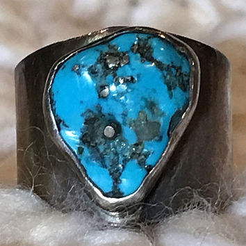 Turquoise Ring Wide Band Sterling Silver
