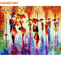 CHENISTORY Walking DIY Painting By Numbers Abstract Modern Wall Art Large Oil Paint Hand Painted Acrylic Picture For Home Decor