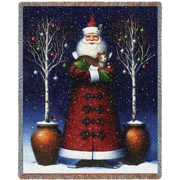 KITTY SANTA CHRISTMAS AFGHAN THROW BLANKET