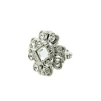 Silver Floral Stone Stretch Ring
