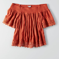 AEO Lace Smocked Off-The-Shoulder Top, Rust