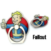 Game Fallout 4 / Kirby Super Star Symbol Finger Ring Sticky Mount Stand Tablet Mobile Phone Holder Bracket Cool