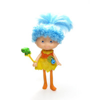 Willow Song Doll Herself the Elf Friend with Frog Wand, Blue Hair & Yellow Dress 1980's American Greetings Toy