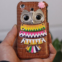 iPhone 3 3g 3gs Hard Case Cover With Colourfuld Owl and Flower