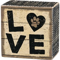 LOVE with Pawprint - Vintage Wood Box Sign 3-in