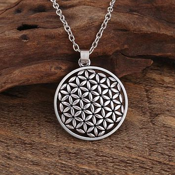 Flower of Life Pendant Necklace Silver Plated