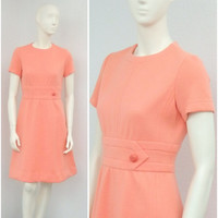 Vintage 60s Kimberly Wool Peach Mod Dress, Coral A Line Dress, Short Sleeve Dress, Knee Length Spring Dress, Size S
