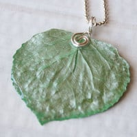 Mint Green Aspen Leaf Pendant, Bridesmaid Necklace, Nature Necklace