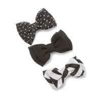 Assorted Black Mini Chiffon Double Bow Hair Clips Set of 3 | Icing