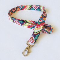 Mandala Lanyard / Flowers / Mandalas Keychain / Colorful / Key Lanyard / ID Badge Holder / Fabric Lanyard / Floral Print