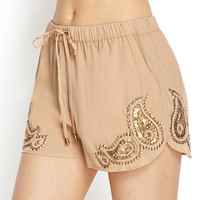 Sequined Paisley Dolphin Shorts