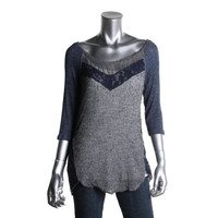 Free People Womens Crochet 3/4 Sleeves Pullover Sweater