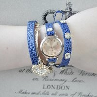 Magic Pieces Women's Handmade 3 Layers Bracelet Wrist Watch with Rhinestone Heart Pendent 073005 Blue