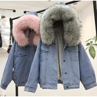 Trendy Lisa Colly Women Winter Thick Jean Jacket Blue Warm Denim Coat jacket Overcoat Faux Fur Collar With Hooded Lamb Fur Cotton coat AT_94_13