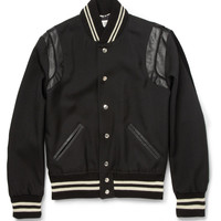Saint Laurent - Leather-Trimmed Wool-Twill Varsity Jacket | MR PORTER