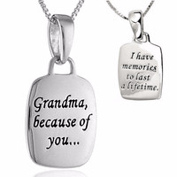 "Silver Pendant ""Grandma and Memories"" Necklace"