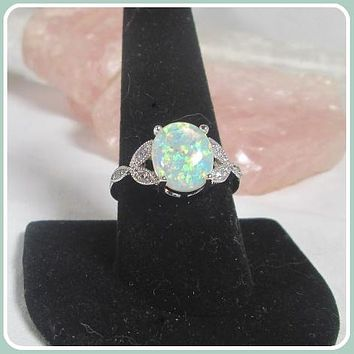 """Peace & Love"" Angel  White Fire Opal Sterling Silver Ring"