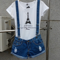 New 2015 Strap shorts jeans overalls big yards loose casual denim shorts suspenders Jumpsuits Rompers women blue hole S-XXL Bob