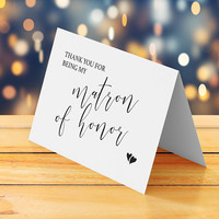Matron of honor card printable, Thank you for being my matron of honor, Wedding thank you card, Printable thank you card, Instant download