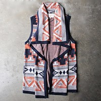 Knitted Waterfall Vest With Aztec Design