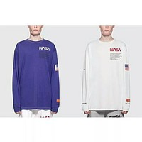 TOP NEW Heron Preston letters printing embroidery USA flag Men Long sleeve T shirt hip hop Fashion Casual Cotton Tee S-XL