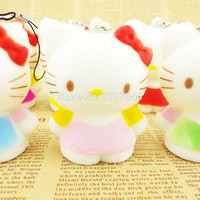 2015 New Squishy Hello Kitty Cartoon Doll Key Chains Colorful Phone Straps Kids Gift Toys 1PCS