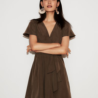 Tie Front Flutter Sleeve Fit And Flare Dress