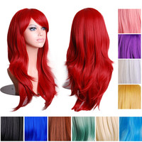 14 Colors 70cm Long Wavy Full Head Wig Anime Cosplay Synthetic Lace Front Wigs Brown Wig