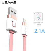 USAMS Cable for iPhone Zinc Alloy 2.1A Fast Charging Usb Cable Date Cable For iPhone Mobile Phone Accessories