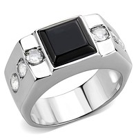 Men's Rings TK3615 Stainless Steel Ring with Synthetic in Jet