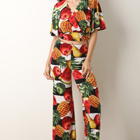 Fruit Print Surplice Crop Top With Palazzo Pants Set | UrbanOG