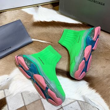 Balenciaga BB 2021 NEW Men's And Women's GREEN Flyknit Speed Air Cushion Sneakers Shoes Short Ankle Sock Boots