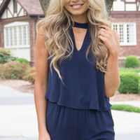 Navy Open Back Tie Neck Romper With Pockets