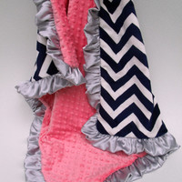 Coral Minky Dot and Navy Chevron Blanket - Sized from Baby to Adult