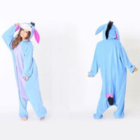 Eeyore Donkey Pajamas  One PIECE Pyjama Animal Suits Cosplay Costumes Adult Flannel Cartoon Animal New Onesuits Costume Sleepwear