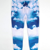 Blue Sky White Clouds Print Hip-Hop Emoji Jogger Sweatpants