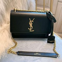 YSL Trending Women Shopping Leather Metal Chain Shoulder Bag Crossbody Satchel Black