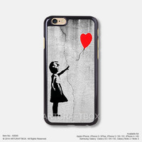 Banksy Art Girl Red Balloon iPhone 6 6Plus case iPhone 5s case iPhone 5C case iPhone 4 4S case Samsung galaxy Note 2 Note 3 Note 4 S3 S4 S5 case 048