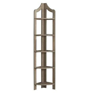 "Dark Taupe, Particle Board, Corner Accent Shelf - Bookcase 12'.25"" x 17'.5"" x 71"""